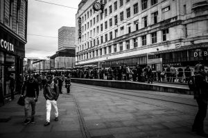 Busy Tram Platform, Manchester by ncaph