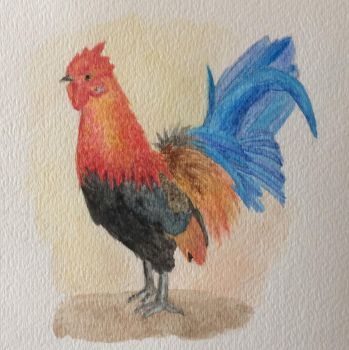 Watercolor rooster by seakliff