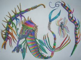 Dragons of the Cambrian Color Explosion by Emeowrald