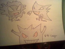 Gastly Haunter and gengar by Mrsnakehead08