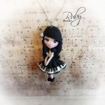 Polymer clay Piano doll necklace by Ruby-creations