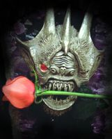 Silver Gargoyle with Rose by Skeletox