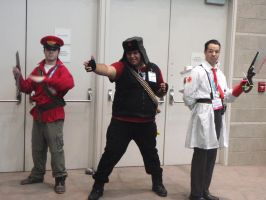 Soldier, Heavy, and Medic Cosplayers by stormx6