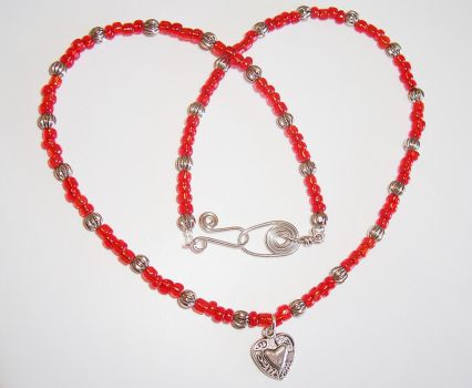 Red Love Bead Necklace by Libbyscreations