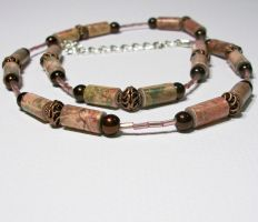 Coppers - Paper Bead Necklace by secrets-of-the-pen