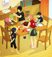 SasuSaku Family : Sasuke's birthday by steampunkskulls