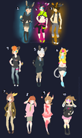 10 Free Kemonomimi Adopts: Tic Tac Toe Band by Pieology