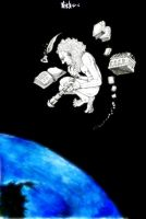 man with books in the stars by nicktheartisticfreak