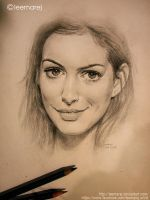 Anne Hathaway quick sketch by leemarej