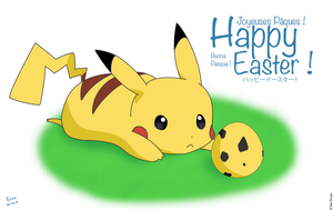 Happy Easter Pikachu ! by RaeArtworks
