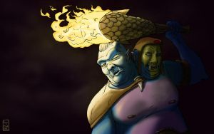 Ogre Magi from DOTA2 Fan Art by Line by LineDetail