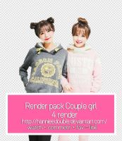 Render pack Ulzzang couple girl by Hannieedouble