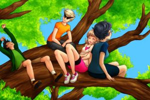 Peeps In a Tree by JanesBlueKitten