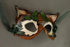 Darker Leafy Cat -Leather Mask by windfalcon