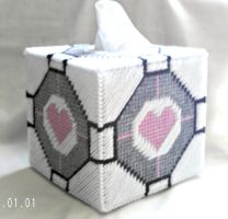 Companion Cube Tissue Box Cover by agorby00