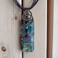 Mermaid Garden Pendant - Fluorite and Pyrite by magpie-poet