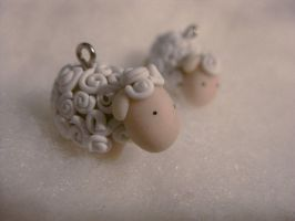 Lovely sheep earrings by Lunatica-Reiko