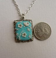 Hand appliqued floral pendant 5 with bird by Stefimoose