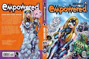 EMPOWERED vol.9 (out Aug.19!) front and back cover by AdamWarren