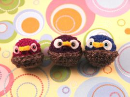 Amigurumi Owl Magnet Set by AmiTownCreatures