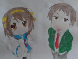 Haruhi Chan and Kyon by FlyingLion76