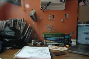 My desk in ruins by sinistertale