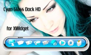 Cyan Glass Dock HD for xwidget by jimking