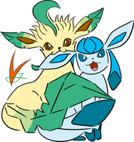 Leafeon and Glaceon by Vyranitar