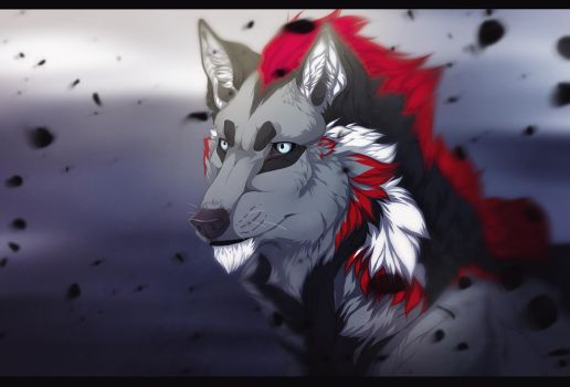 Riku as a wolf by Rikuko