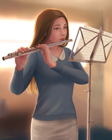 The Flutist by Blunell
