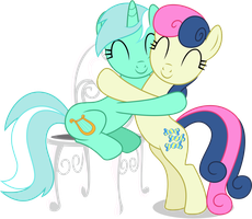 Lyra and Bon Bon - Hugging by CaliAzian