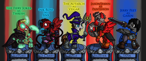 The Fiery Joker's League of Legends Team by InkRose98