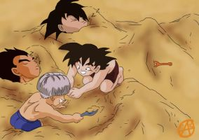 Vegeta, Goku, Goten, Trunks. by wolfyLRiina