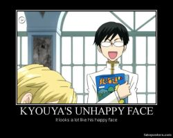 Kyouya's Unhappy Face by RavenSnipper