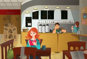 scene in a cafe by Hillary-CW