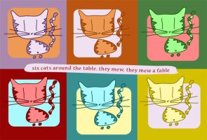 Six cats around the table by Calliope00