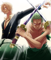 Sanji and Zoro by queenira