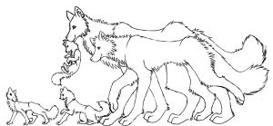 Free Wolf Family Lineart by trisomy