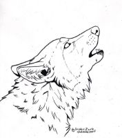 Free to COLOR ONLY howling wolf Line Art by NatsumeWolf