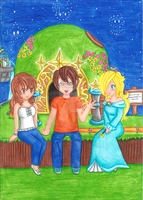 Comm - GM8, Ayumi and Rosalina at the Observatory by Juliana1121