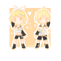 Chibi Rin+Len by happy-little-ghost