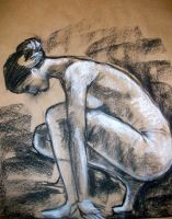 sketch of woman crouching by Haeddre