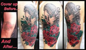 Traditional style womens face and roses cover up by Ashtonbkeje