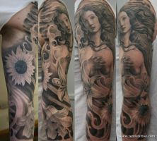 venus tattoo sleeve by Remistattoo