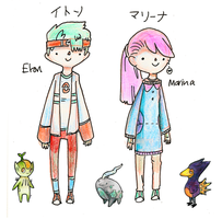 PKMN LAUREL and WYSTERIA - MAIN CHARACTER SKETCHES by etonmantis