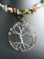 Fancy Jasper Chip necklace with wire tree by BacktoEarthCreations