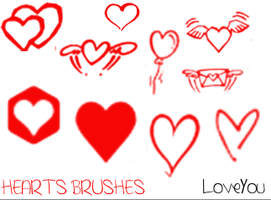 Heart Brushes 1 by LarahLoveyou