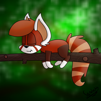 Sleepy Red Panda by SammiFX