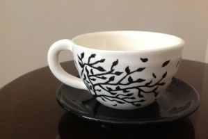 Tree Silhouette Cup and Saucer by DarkAcey