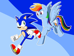 Sonic and Rainbow Dash Running Sept. 2015 by MegaArtist923